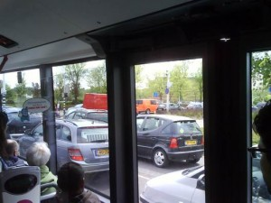 View from the bus on traffic chaos